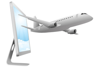 airplane and monitor