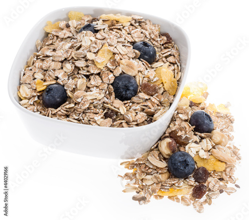 Mixed Muesli in a bowl isolated on white