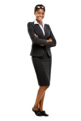 Full length African American Attractive young businesswoman whit