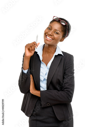 African American businesswoman white background