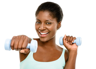 Closeup African American woman exercising white background