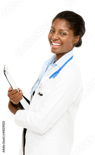 Portrait confident African American female doctor white backgrou