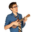 Happy Man Playing a Ukelele