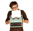 Man Pulling Paper from a Vintage Typerwriter with his Teeth