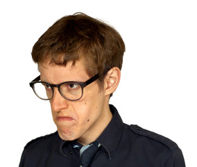 Displeased Man with Glasses on White Quarter View