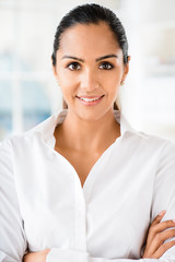 Portrait of attractive indian businesswoman  working from home