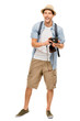 Full length portrait of happy tourist photographer man on white