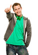 Happy young cuacasian man giving thymbs up sign white background