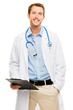 Confident young male doctor holding clipboard on white backgroun