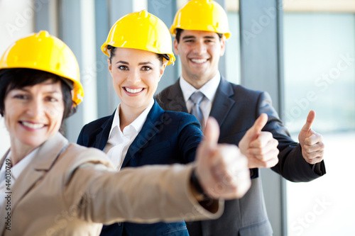 group of construction manager thumbs up