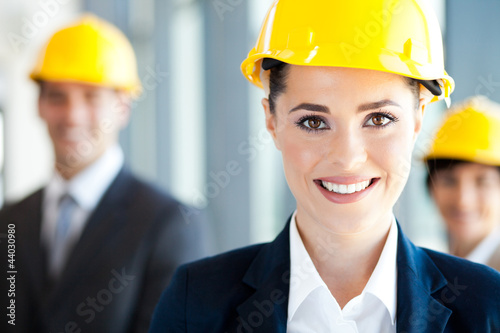 pretty construction businesswoman closeup