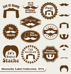 Vector Set: Mustache Vintage Label Collection