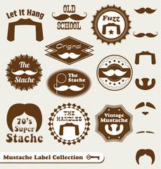Vector Set: Mustache Vintage Label Collection