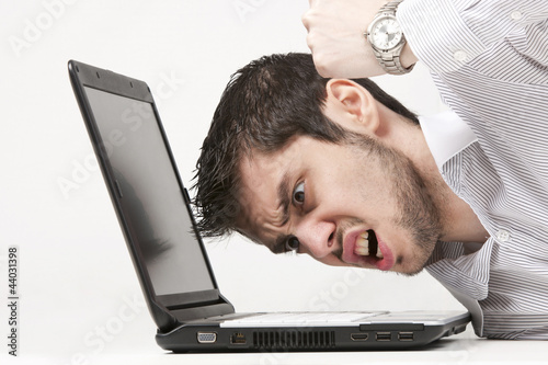 Extremely angry businessman