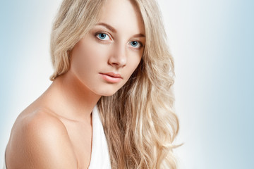 beautiful blonde woman closeup face portrait