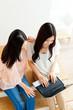 Beautiful young business women using a laptop. Portrait of asian