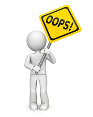 Cartoon figure with oops! sign
