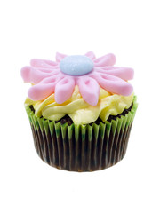 chocolate cupcake with flower candy