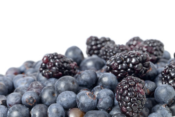 pile of blueberries and black berries