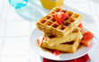 waffles for breakfast with strawberries