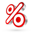 Red/White/Silver Percent Sign 3D Sale