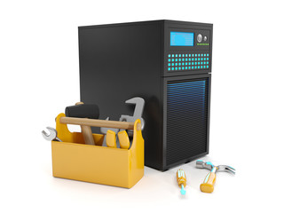 3d illustration: Repair of the server station. Server and Tools