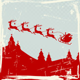 Santa Sleigh 4 Flying Reindeers Red Retro Background