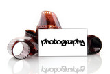 photography - business card with old photographic film poster