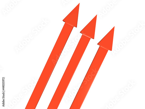 The three red arrows on white background №1