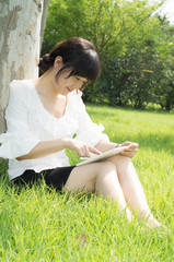 Tablet PC a woman