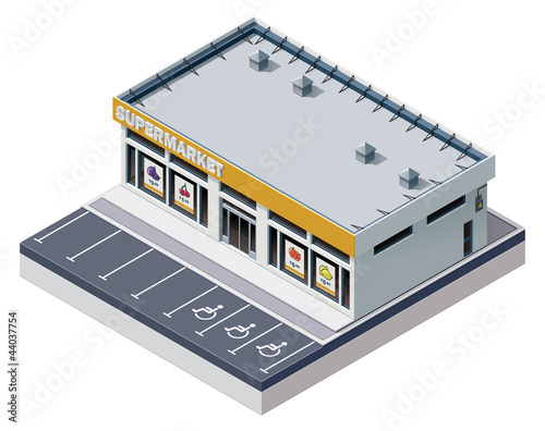 Vector isometric supermarket building