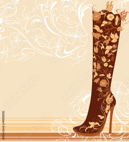 Fashion shoes on a floral background