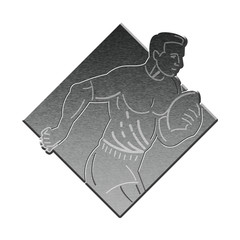 rugby player metallic silver