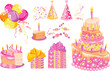 Sweet set for a birthday party, vector