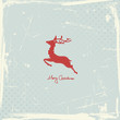 Flying Reindeer Abstract Red Retro Background