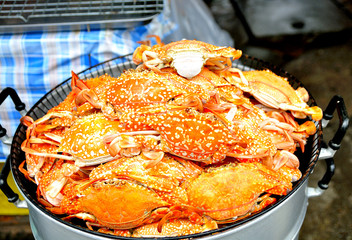 Steamed blue crab