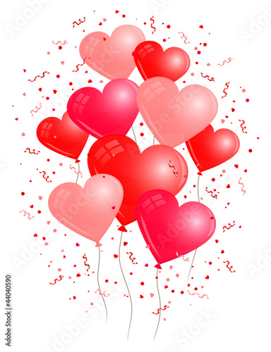 Red Colored Heart Balloons White