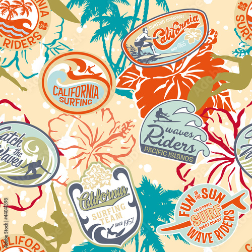 Surfing stickers seamless pattern