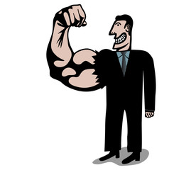 strong rigt arm businessman