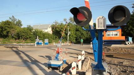 road barrier semaphore Russian Railways