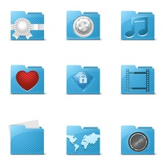 blue folders vector icons