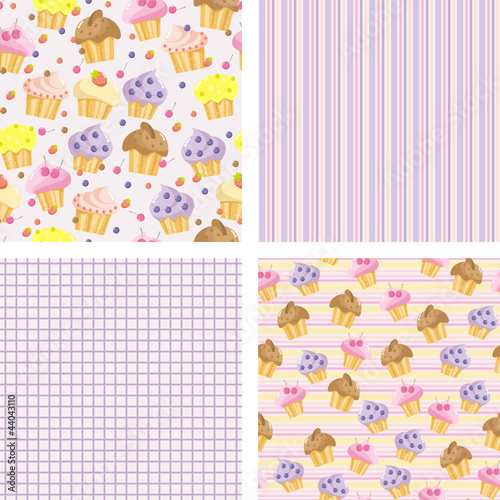 set of backgrounds with cakes for the scrapbook