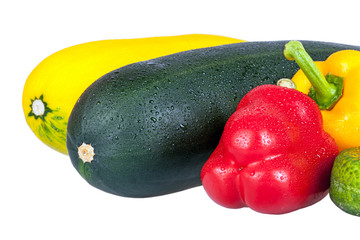 Vegetable marrows and sweet pepper isolated on white