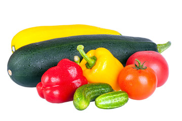 Vegetable marrows, sweet pepper and tomatoes isolated on white