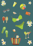 Beach set icons. Summer collection.