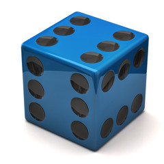 Blue dice with six on all sides