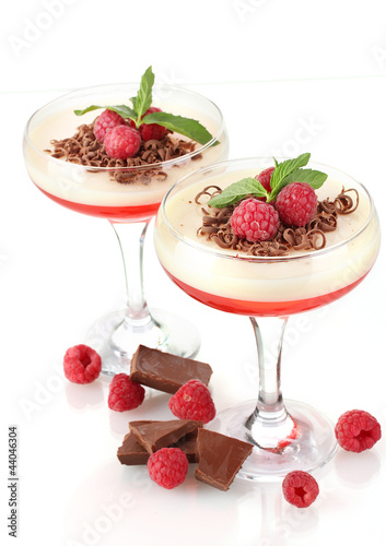 fruit jelly in glasses with chocolate and raspberries isolated
