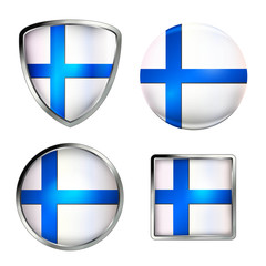 finland flag icon set, metallic