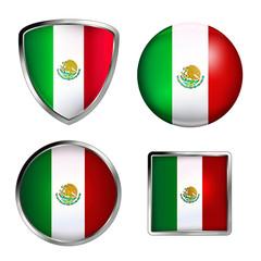 mexico flag icon set , metallic