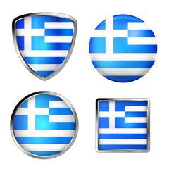 greek flag icon set, metallic